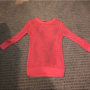 Peach netted sweater
